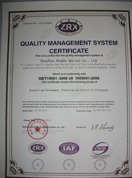 China SHENZHEN HONY OPTICAL CO.,LTD Certificações